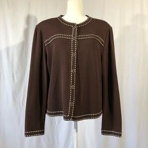 St. John by Marie Gray Chocolate Brown Cardigan